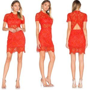 Lovers + Friends Mon Amour Red Lace Dress XS